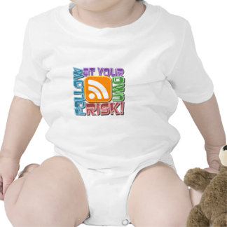 Follow At Your Own Risk! RSS Icon Button Design Tshirt