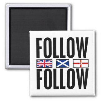 Follow Follow 3 Flags 2 Inch Square Magnet