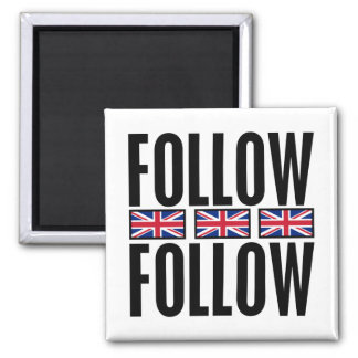Follow Follow, 3 Flags 2 Inch Square Magnet
