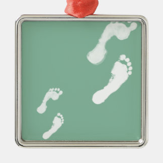 Follow in their Footsteps Square Metal Christmas Ornament