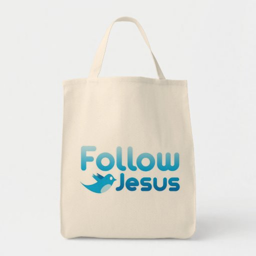 Follow Jesus Christ Twitter Humor Grocery Tote Bag