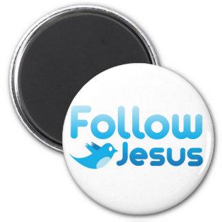 Follow Jesus Christ Twitter Humor Fridge Magnet