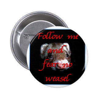 Follow me and fear no weasel pinback button