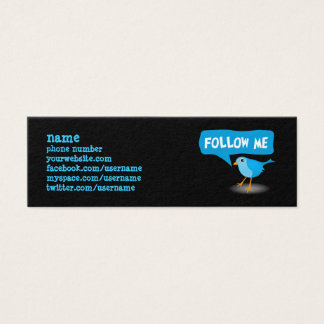 Follow Me Blue Bird Slim Profile Business Cards