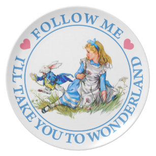 Follow Me, I'll Take you To Wonderland - Alice Melamine Plate