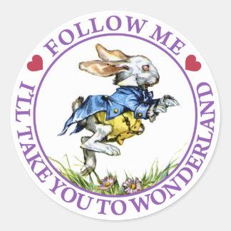 Follow me - I'll take you to Wonderland! Classic Round Sticker