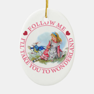 Follow Me, I'll Take You To Wonderland Double-Sided Oval Ceramic Christmas Ornament