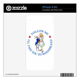 Follow Me - I'll Take you to Wonderland! Skins For The iPhone 4