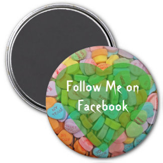 Follow Me on Facebook-Candy Hearts with New Saying Refrigerator Magnet