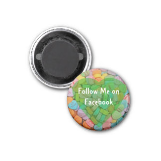 Follow Me on Facebook-Candy Hearts with New Saying Fridge Magnets