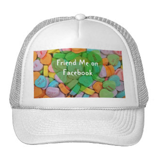 Follow Me on Facebook-Candy Hearts with New Saying Trucker Hat