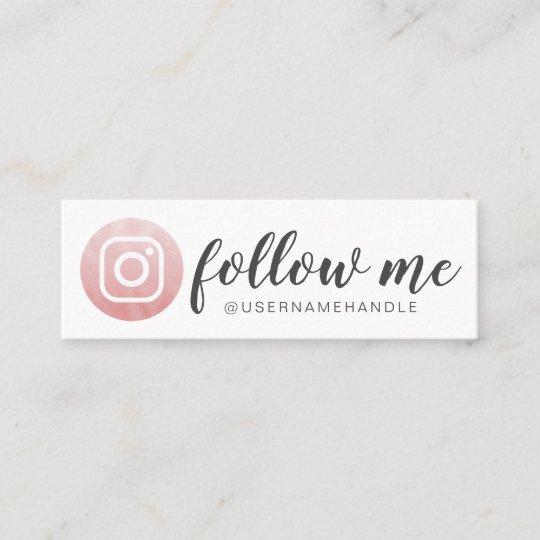 White Minimal Business Card: Follow Me Social Media Instagram Blush Pink Mini Business