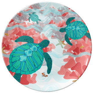 Follow Me Through The Reef Porcelain Plate