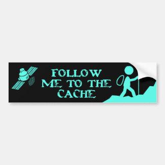 follow me to the cache bumper sticker