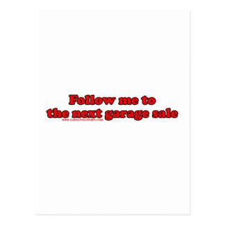 Follow Me To The Garage Sale Postcard