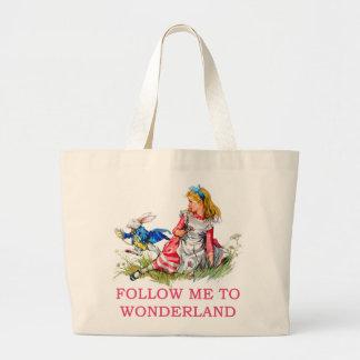 FOLLOW ME TO WONDERLAND LARGE TOTE BAG