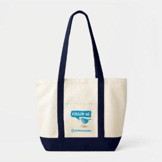 Follow Me Twitter Blue Bird Impulse Tote Bags