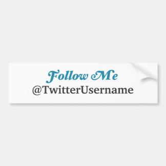 Follow Me Twitter Bumper Sticker (CUSTOMIZABLE) Car Bumper Sticker