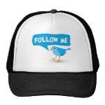 Follow Me Twitter Cute Little Blue Bird Custom Hat Mesh Hats