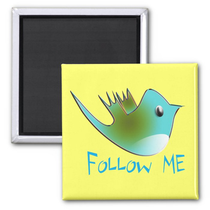 Follow ME Twitter  Gifts and Swirls T-shirts 2 Inch Square Magnet