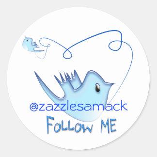 Follow ME Twitter  Gifts and Swirls T-shirts Classic Round Sticker