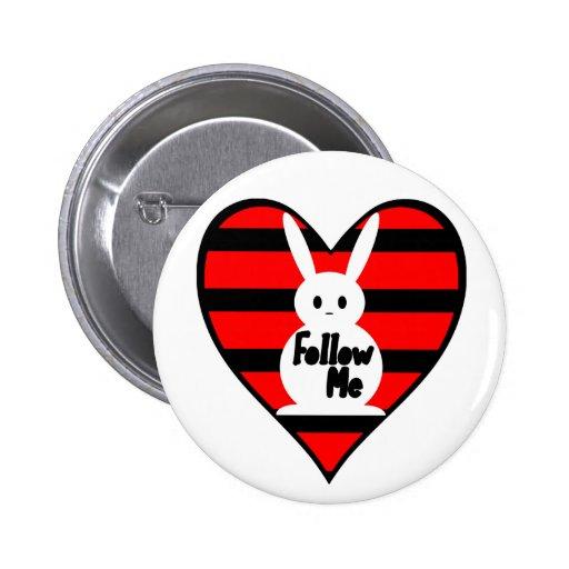 Follow Me White Rabbit 2 Inch Round Button
