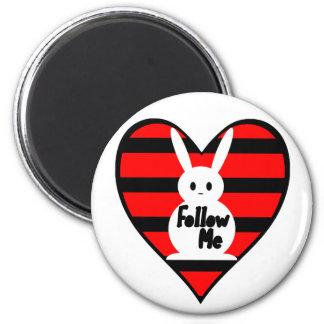 Follow Me White Rabbit 2 Inch Round Magnet