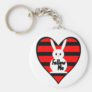 Follow Me White Rabbit Keychain