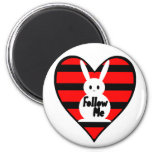 Follow Me White Rabbit Refrigerator Magnets