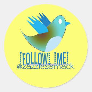 Follow Me @ YOUR Twitter Address Classic Round Sticker