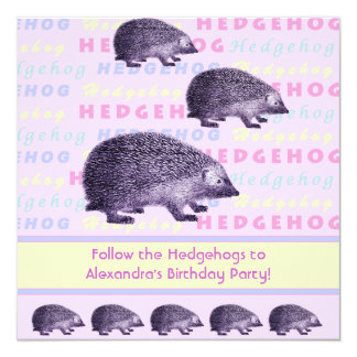 Follow the Hedgehogs Little Girl's Birthday Party Card