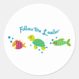 Follow The Leader Border Classic Round Sticker