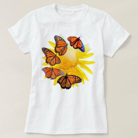 Follow The Light Watercolor Monarch Butterfly T-Shirt