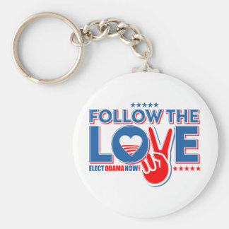 Follow The Love - Elect Obama Now Keychain