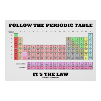 Follow The Periodic Table It's The Law (Chemistry) Print
