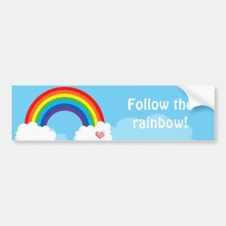 Follow the rainbow bumpersticker car bumper sticker