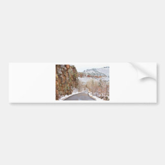 Follow The Red Rock Ridge Winter Road Bumper Sticker