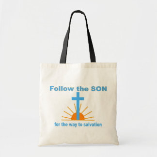Follow the son for salvation tote bag