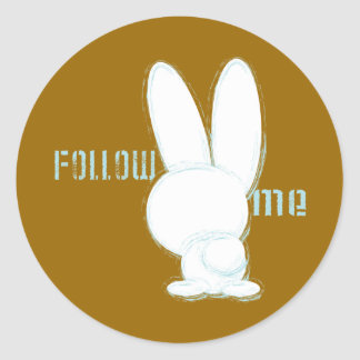 follow the white rabbit classic round sticker