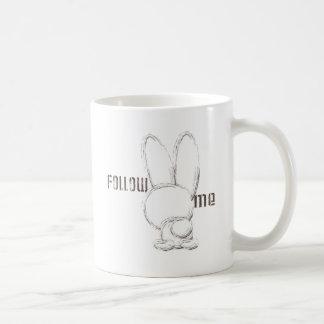 follow the white rabbit classic white coffee mug