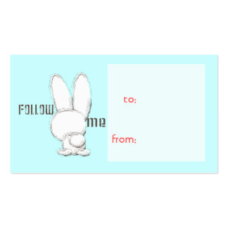 follow the white rabbit gift tag business card