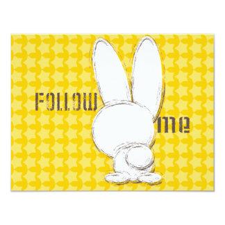 follow the white rabbit 4.25x5.5 paper invitation card