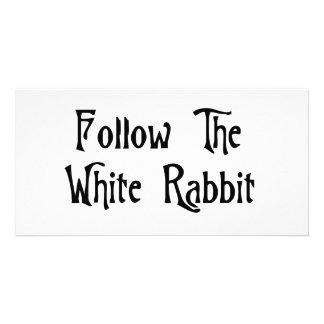 Follow The White Rabbit Photo Card Template