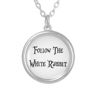 Follow the White Rabbit Silver Plated Necklace
