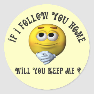 Follow You Smiley Classic Round Sticker