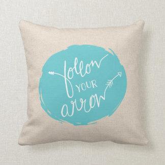 Follow Your Arrow Throw Pillow | {Teal & Burlap}