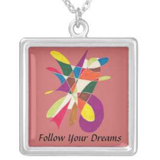 Follow Your Dreams-Abstract Pencil Sketch Silver Plated Necklace