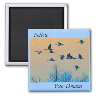 Follow Your Dreams - Flock of Geese 2 Inch Square Magnet