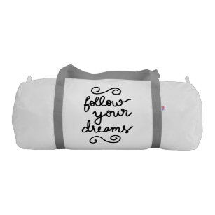 488789a494 Follow Your Dreams Modern Simple Typography Gym Bag