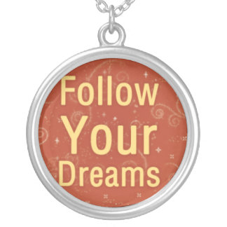 Follow Your Dreams on Orange Swirls Silver Plated Necklace